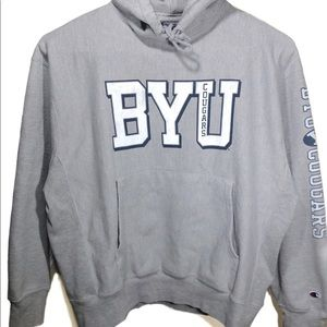 Vtg 80s Champion BYU Cougars Utah Spellout Hoodie